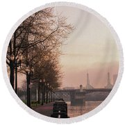 Willamette Riverfront, Portland, Oregon Round Beach Towel