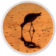 Round Beach Towel featuring the photograph Willet On Sunrise Surf by Steven Sparks