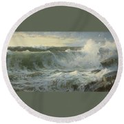 William Trost Richards American 1833  1905   Seascape Round Beach Towel