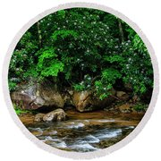 Williams River And Rhododdendron Round Beach Towel