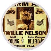 Willie Nelson 1985 Vintage Farm Aid Poster Round Beach Towel