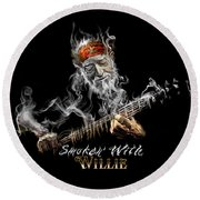 Willie Smoken' Round Beach Towel