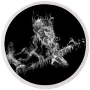 Willie - Up In Smoke Round Beach Towel