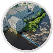 Willimantic River And Mill #2 Round Beach Towel