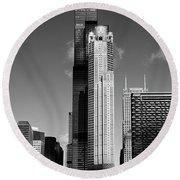 Willis Skyscraper Chicago Round Beach Towel