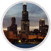 Willis Tower At Dusk Aka Sears Tower Round Beach Towel by Adam Romanowicz