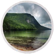 Willoughby Lake In Westmore Vermont Round Beach Towel