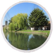 Jessica Willow Likes David Pine - Grand Union Canal - Park Royal  Round Beach Towel