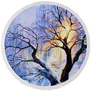 Round Beach Towel featuring the painting Willow Creek Sunset by Hanne Lore Koehler