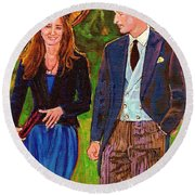 Wills And Kate The Royal Couple Round Beach Towel
