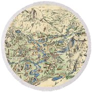 Willy Nilly Map - The Valley -yosemite National Park - Vintage Illustrated Map - Cartoon Vignettes Round Beach Towel