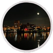 Wilmington Nc At Night Round Beach Towel by Denis Lemay