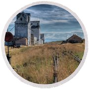 Wilsall Grain Elevators Round Beach Towel