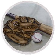 Wilson Baseball Glove And Bat Round Beach Towel