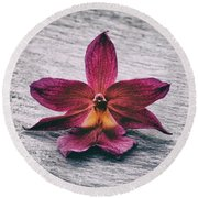 Wilting Orchid  Round Beach Towel