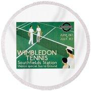 Wimbledon Tennis Southfield Station - London Underground - Retro Travel Poster - Vintage Poster Round Beach Towel