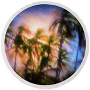 Wind And Palms Round Beach Towel
