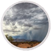 Round Beach Towel featuring the photograph Wind And Rain by Rick Furmanek