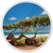 Wind Blown Tree Round Beach Towel by Brian Harig