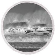 Round Beach Towel featuring the photograph Wind Blown Waves by Nicholas Burningham