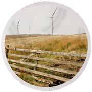 Wind Farm On Miller's Moss. Round Beach Towel