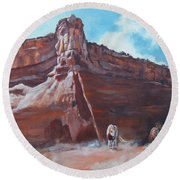 Round Beach Towel featuring the painting Wind Horse Canyon by Karen Kennedy Chatham