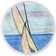 Wind In The Sails Round Beach Towel by R Kyllo