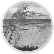 Wind In The Sea Oats Round Beach Towel