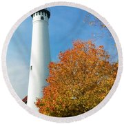 Wind Point Lighthouse In Autumn Round Beach Towel