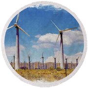 Wind Power Round Beach Towel