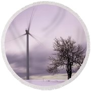 Wind Power Station, Ore Mountains, Czech Republic Round Beach Towel