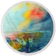 Round Beach Towel featuring the painting Wind Swept by Allison Ashton