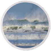 Wind Swept Waves Round Beach Towel