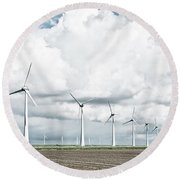 Wind Turbines Landscape Round Beach Towel