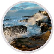 Windansea Beach At High Tide Round Beach Towel by Eddie Yerkish