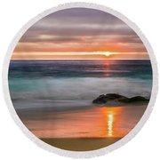 Windansea Beach At Sunset Round Beach Towel