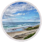 Round Beach Towel featuring the photograph Windansea Wonderful by Peter Tellone