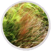 Windblown Grasses Round Beach Towel