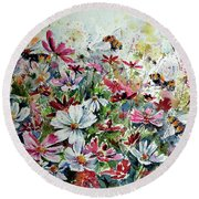 Windflowers With Bees Round Beach Towel