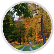 Winding Road In Autumn Round Beach Towel