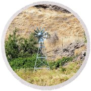 Windmill Aerator For Ponds And Lakes Round Beach Towel