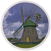 Windmill Amrum Germany Round Beach Towel