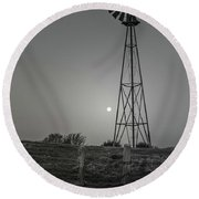 Round Beach Towel featuring the photograph Windmill At Dawn by Robert Frederick