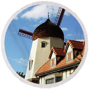 Windmill At Solvang, California Round Beach Towel