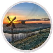 Round Beach Towel featuring the photograph Windmill At Sunrise by Frans Blok
