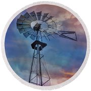 Round Beach Towel featuring the photograph Windmill At Sunset by Susan Candelario