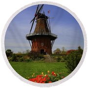 Windmill At Tulip Time Round Beach Towel