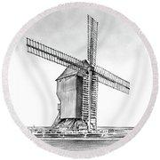 Windmill At Valmy Round Beach Towel