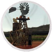 Windmill Round Beach Towel by Enzie Shahmiri