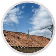 Windmill In Belgium Round Beach Towel